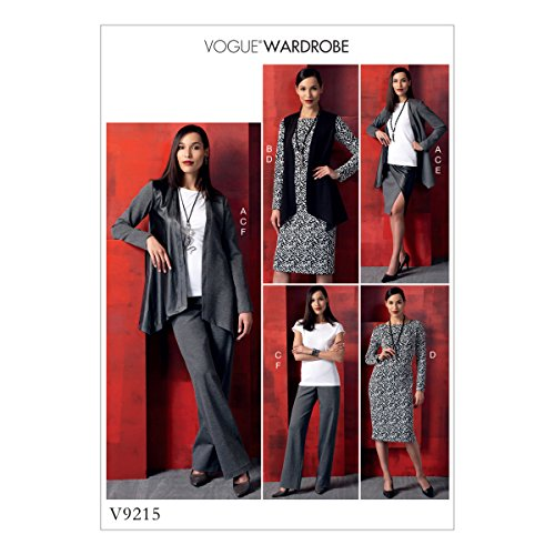 Vogue Mustern 9215ZZ Schnittmuster Jacke/Weste/Top/Kleid/Rock und Hose, Tissue, mehrfarbig, Größen lrg-xxl (Lrg-rock)