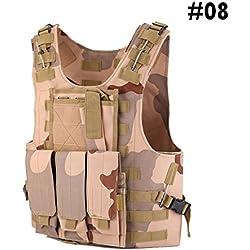 Chaleco Táctico de Caza Chaleco de Combate de Ajustable del Ejército, Chaleco Protector de la Placa de Asalto de Airsoft Paintball, Al Aire Libre Jungle Game Chaleco Protector con Bolsas Extraíbles (#08 - Desert Camouflage)