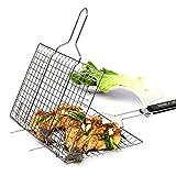 Forest Master Premium BBQ Grill-Korb aus Edelstahl mit 2 Jahren Zufriedenheitsgarantie - Grill-Wok / Grill-Pfanne / Grill-Rost / Gemüse-Schale / Gemüse-Korb / Kartoffelkorb W32*L21.5+28.5cm - Quadrat