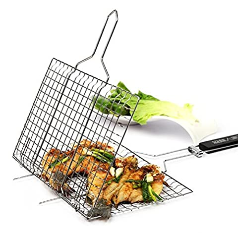 Forest Master Nonstick Fish Grilling Basket Portable for Roast BBQ Barbecue with Wood Handle - 535 x 320 x 20mm