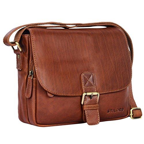 STILORD 'Lucian' Vintage Umhängetasche Leder klein für Herren und Damen braune Schultertasche für 10.1 Zoll Tablet iPad DIN A5 Handtasche aus echtem Leder, Farbe:cognac - braun (Braune Handtasche Vintage)