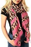 STYLE SLICE Leopardenmuster Streifen Schal Damen - Pink Rot Rosa Blau Orange Creme Camel Braun Oliv - Tuch Tücher Groß Weich Gestreift - Damenmode Accessoires - Geschenk Frauen