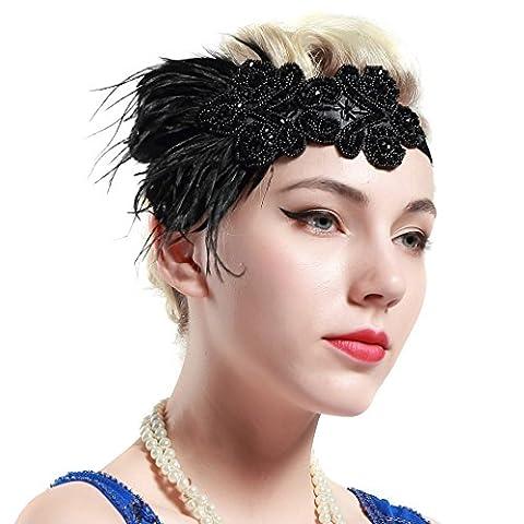 Flapper Robes Fille - Babeyond Bandeau Cristal Bandeau Plume Flapper Headband