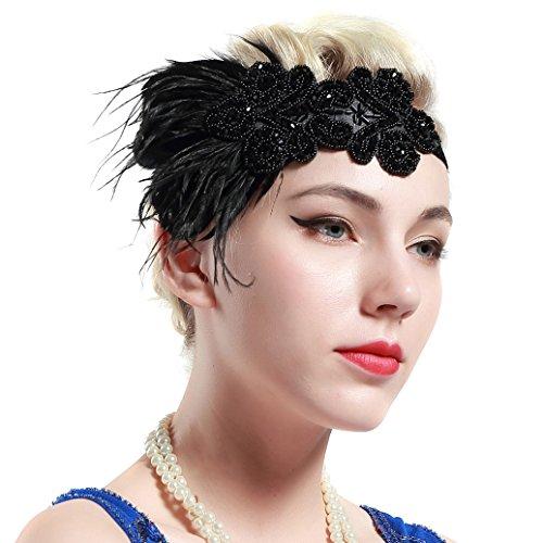 Babeyond® 1920s Stil Stirnband mit schwarzer Feder Inspiriert von Der Große Gatsby Accessoires für Damen Freie Größe