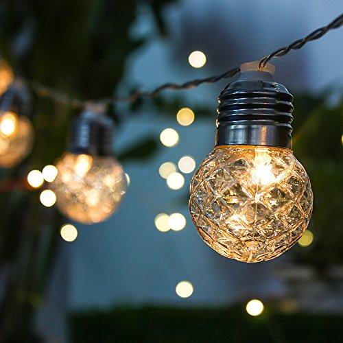 elecfan Solar Lichterkette Outdoor, Wasserdichte 10er LED Solar Lichterkette Alühbirnen Kristall Kugel Beleuchtung Beleuchtung Deko Außenleuchte für Party Fest Halloween Hochzeiten Feiern Weihnachten