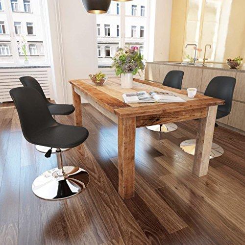 Lingjiushopping 4Stück Stühle Esszimmer höhenverstellbar drehbar schwarz Farbe: schwarz Material: Sitz aus Kunstleder + Rückenlehne aus Kunststoff + Eisen-Basis (Esszimmer Kunststoff Beistelltisch)