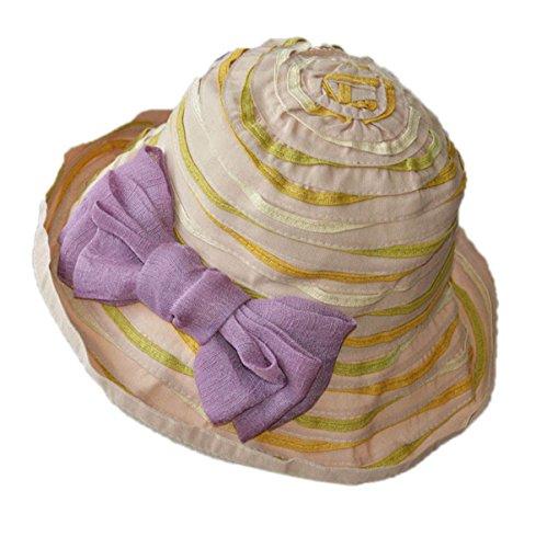 Femmes De Printemps Et D'été En Vue De Prévenir L'extérieur Dôme Bow Bow Hat Beige