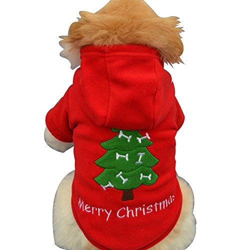 Weihnachten Haustier Hund Hoodie Pullover, Hmeng Welpen Santa Baum Stickerei Sweatshirt Niedlichen Hund Katze Dick Outwear Mantel Bekleidung Haustier Kleidung für Herbst Winter (XL, Rot)