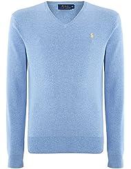 Ralph Lauren Polo para el cuello Jersey para hombre V algodón Pima de la Armada británica negro y gris rosa y azul