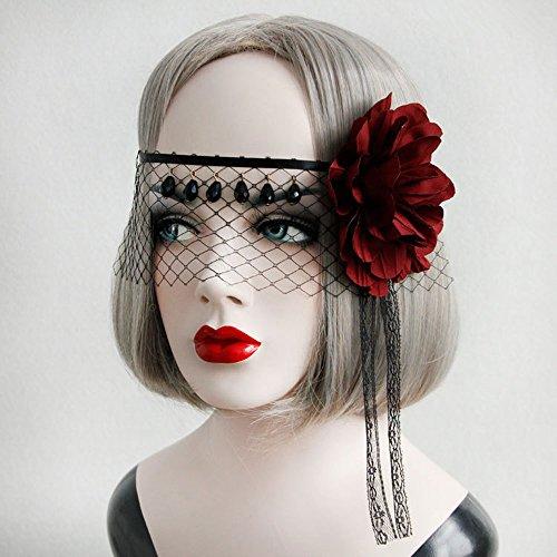 EQLEF Schleier Schwarz Maske Maskerade Maske schwarz Stirnband sexy Gesicht Schleier mit künstlichen Kristall und Tuch Blumen für Halloween Kostüm Party (Stirnband Schwarzer Schleier)