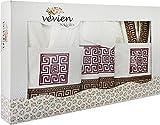 Vevien - Set di accappatoio, 16 pezzi, 100% cotone, colore: Bianco/Lilla