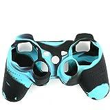niceeshop(TM) Noir et Bleu Super Grip Glow Silicon Housse de Protection de la Peau Case pour la Télécommande Sony Playstation PS3