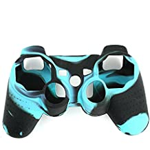 Lightning360 High Quality Premium Super Grip Glow Black Blue Silicon Protective Skin Case Cover for Sony Playstation PS3 Remote Controller by Lightning360