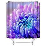 HUIYIYANG Benutzerdefinierte Duschvorhang, 3D Design blühende Chrysantheme Farbverlauf Lila Blau Wasserdichter Anti Mehltau Gewebe Polyester Duschvorhang für Badezimmer 36