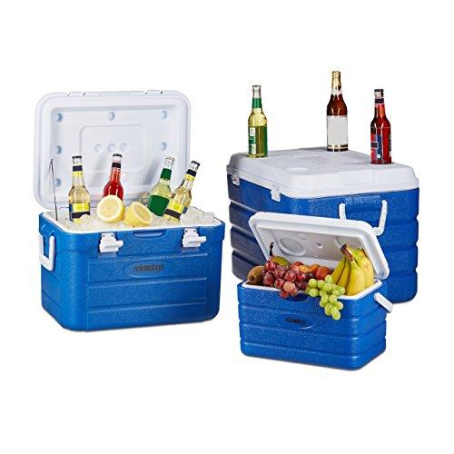 Relaxdays Kühlbox ohne Strom im Set, 3 Kühltaschen für Camping, Isolierbox groß mit Wasserablauf, 10-60 Liter, blau-weiß
