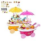 Zsjijia Giocattoli di gelato per i bambini Trolley Toy, negozio di carrelli crema Pretend Play Set Regalo di Natale dell'automobile della caramella di 39PC