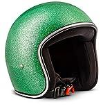 Rebel · R2 'Flakes Green' (Grün) · Jet-Helm · Scooter-Helm Motorrad-Helm Retro Roller Mofa...