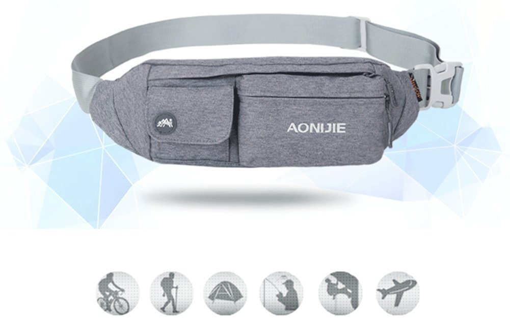6cb1e12b2c61 WATERFLY Waist Bag Pack Slim Water Resistant Fanny Pack Travel Bum Bag  Running Belt for Traveling Cycling Hiking Camping