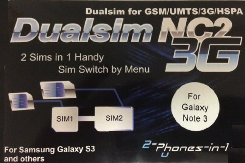 2-phones-in-1® 2in1-nc2nc NC2 Dual Sim Adapter für Samsung Galaxy Note 3 N3