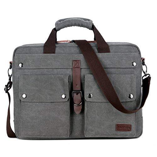 BAOSHA BC-07 Vintage Leinwand Herren Aktentasche Businesstaschen Laptoptasche groß passend für 14 ~ 17 Zoll Laptop Notebook Männer Segeltuch Arbeitstasche Umhängetasche Canvas Schultertaschen (Grau)