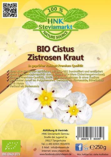 HNK Bio Zistrosenkraut - Cistus incanus, (250g) | ohne Zusätze - Zistrose Cistus naturbelassen - Premium Qualität