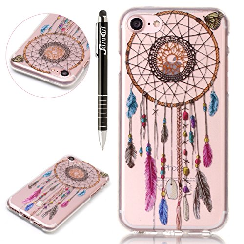 SainCat Coque Housse pour Apple iPhone 7,Transparent Coque Silicone Etui Housse,iPhone 7 Silicone Case Soft Gel Cover Anti-Scratch Transparent Case TPU Cover,Fonction Support Protection Complète Magné Campanula tribal