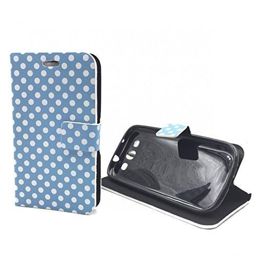 König-Shop Apple iPhone 6 Handy Hülle Schutzhülle Tasche (Flip Quer) Wallet Rockabilly Etui Schutz Case Cover Bumper Standfunktion Hellblau / Weiß Gepunktet Blau