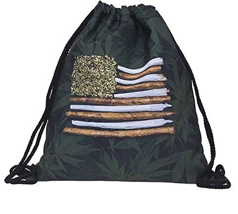 Beutel Joint Flag Marihuana Kiffen Gras Turnbeutel Gym Bag Gymsack Sack Rucksack Hipster Festival Tasche Jutebeutel Sack Loomiloo¨
