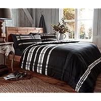 Parure de lit réversible en flanelle - Motif à carreaux - Lit double - OMEGA BLACK
