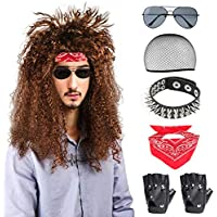 Beelittle 80s Hombres Heavy Metal Rock Wig Punk Disco Disfraz de Halloween Kit de Accesorios para