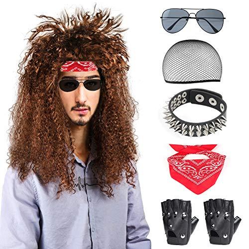 Beelittle 80er Jahre Männer Heavy Metal Rock Perücke Punk Disco Halloween Kostüm Zubehör Kit für Männer