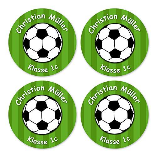 Papierdrachen 24 individuelle Aufkleber für Kinder - Motiv Fußball grün - personalisierte Sticker - Perfekt zur Einschulung - Geschenk für die Schule - Namensaufkleber und Schulbuchetiketten -