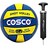 DealBindaas Cosco Combo of 2, 1 Shot Volleyball Size-4, 1 Speed up Ball Pump and 1 Needle/Ball Pump, 4 (Yellow,Blue,LW-CI018_SU067)
