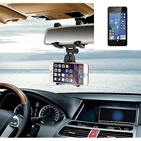 Supporto Smartphone specchietto retrovisore per Microsoft Lumia 550, nero | Specchio Holder staffa auto - K-S-Trade (TM) - Guida All'acquisto Holder
