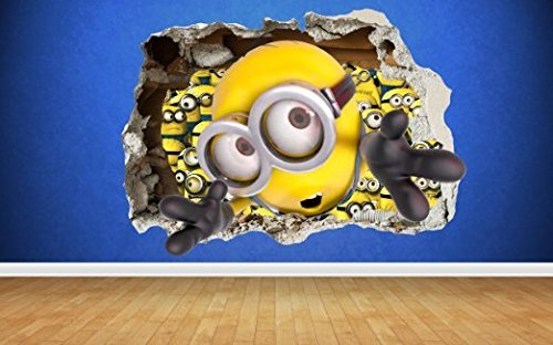 Image of Minions smashed wall 3d style despicable me wall sticker kids childrens bedroom vinyl art (Large: 80cm x 58cm)