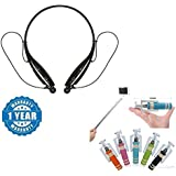 Renyke HBS-730 Bluetooth Wireless Stereo Headset With Inbuilt Mic Functionality And Mini Selfie Stick Compatible With Xiaomi, Lenovo, Apple, Samsung, Sony, Oppo, Gionee, Vivo Smartphones (One Year Warranty)