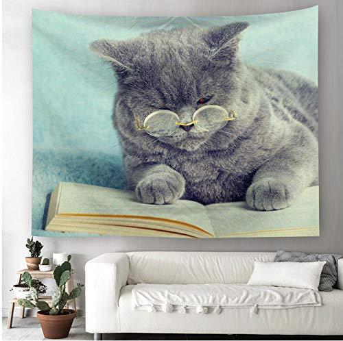 LINMI Psychedelische Katze Tapisserie Polyester Stoff Zuckerschädel Paisley Steampunk Schädel Wandbehang Dekor Vorhänge Plus Tisch Cover 150CM*130CM -