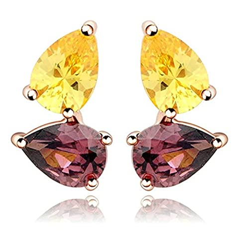 KnSam Boucles d'Oreilles Fantaisie Plaqué Or Rose Percées Drop Earrings Teardrop Incrusté Cristal Rhinestone Jaune Marron