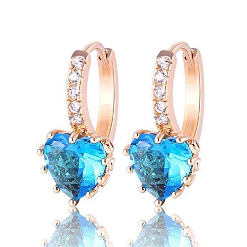 Bling fashion Orecchini donna cuore placcato oro 18K acquamarina zircone Leverback orecchini a cerchio e004F
