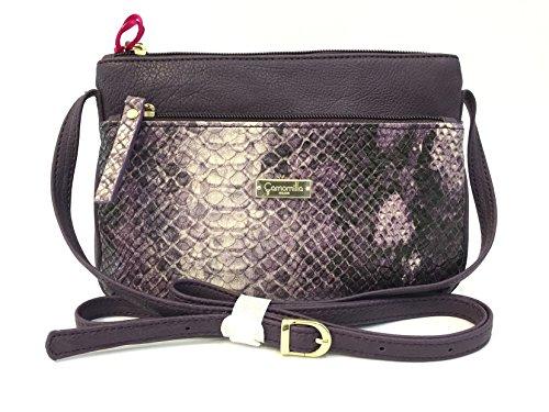 Pochette donna Camomilla, a Mano e Tracolla, Tracollina Snake Design Purple, Ecopelle viola serpente chiusura zip COD.19329