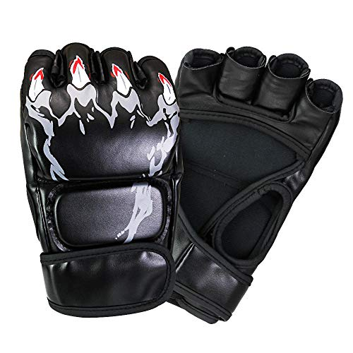 FAVENGO MMA Handschuhe Sparring Kampfsport Grappling Maya Fell Leder Training Kampfsport Boxsack Gel Mitts Fingerlose Handschuhe für Training, Kickboxen, Muay Thai, Boxen, Stanzen