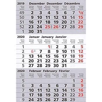 Kalenderblock magnetisch 2020 und 2021 für 3-Monats-Tischkalender Edelstahl TypA