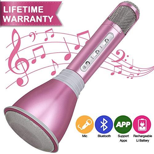 Micrófono Inalámbrico, Micrófono Bluetooth, Micrófono Karaoke Portátil con Altavoz Incorporado para KTV, Compatible con PC/ iPad/ iPhone/ Smartphone (Rosa)