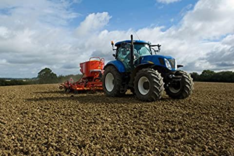 New Holland Tractor Working in Crop Field Photo Art Print Poster 46x30 cm