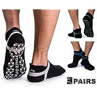 Muezna Calcetines de Yoga Anti-Deslizante para Hombre; Calcentines de Pilates, Barre, Ballet, Calcetines Bikram Fitness de Agarre Anti-Deslizante, Algodón