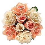 Flores Artificiales Decoración Rosas Plásticas de Seda 9 Cabezas Ramo Nupcial de la Boda para el Hogar Fiesta (Champán Rosado) (peonía Rosa Champagne)