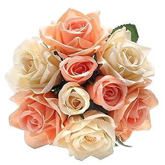chunqi Flores Artificiales, Flores Artificiales de Seda Rosas Artificiales 9 Cabezas Ramo de Boda para el hogar jardín Fiesta decoración de Boda