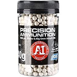 ASG Accuracy International Billes 0.40g (x1000) verseur Rapide Adulte Unisexe, Blanc, Taille Unique