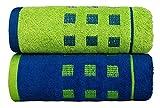 #3: Jikko Pop (Limited Edition) 100% Premium Cotton Bath Towel (Set of 2) | 500gsm | 75cm x 150cm (MidNight Blue & Spring Green)