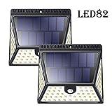 LMJ-CTlight Solar Lights Outdoor, 82 LED Solar Powered Security Lights con 1640 LM, IP65 Wireless Waterproof Solar Lights di Sicurezza per Giardino Esterno (2 Pack)